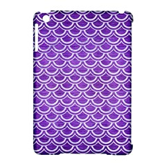 Scales2 White Marble & Purple Brushed Metal Apple Ipad Mini Hardshell Case (compatible With Smart Cover)