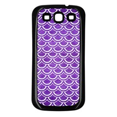 Scales2 White Marble & Purple Brushed Metal Samsung Galaxy S3 Back Case (black) by trendistuff