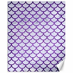 Scales1 White Marble & Purple Brushed Metal (r) Canvas 16  X 20