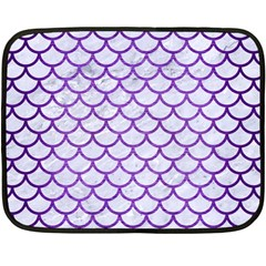 Scales1 White Marble & Purple Brushed Metal (r) Double Sided Fleece Blanket (mini)