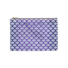 Scales1 White Marble & Purple Brushed Metal (r) Cosmetic Bag (medium)