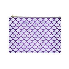 Scales1 White Marble & Purple Brushed Metal (r) Cosmetic Bag (large)