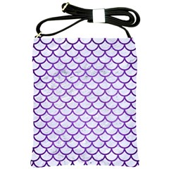 Scales1 White Marble & Purple Brushed Metal (r) Shoulder Sling Bags