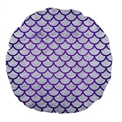 Scales1 White Marble & Purple Brushed Metal (r) Large 18  Premium Round Cushions