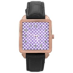 Scales1 White Marble & Purple Brushed Metal (r) Rose Gold Leather Watch  by trendistuff