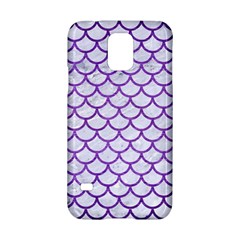 Scales1 White Marble & Purple Brushed Metal (r) Samsung Galaxy S5 Hardshell Case