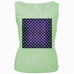Scales1 White Marble & Purple Brushed Metal Women s Green Tank Top