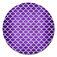 Scales1 White Marble & Purple Brushed Metal Magnet 5  (round)