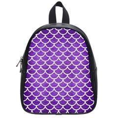 Scales1 White Marble & Purple Brushed Metal School Bag (small) by trendistuff
