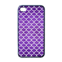 Scales1 White Marble & Purple Brushed Metal Apple Iphone 4 Case (black) by trendistuff