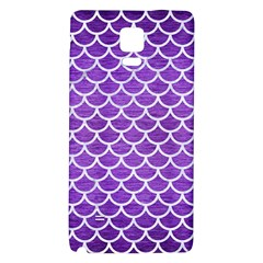 Scales1 White Marble & Purple Brushed Metal Galaxy Note 4 Back Case