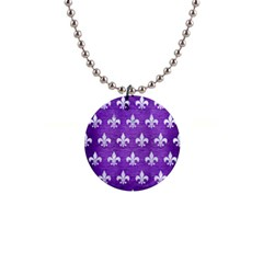Royal1 White Marble & Purple Brushed Metal (r) Button Necklaces