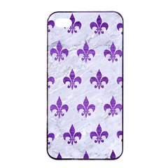 Royal1 White Marble & Purple Brushed Metal Apple Iphone 4/4s Seamless Case (black)