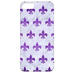 Royal1 White Marble & Purple Brushed Metal Apple Iphone 5 Classic Hardshell Case