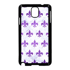 Royal1 White Marble & Purple Brushed Metal Samsung Galaxy Note 3 Neo Hardshell Case (black) by trendistuff
