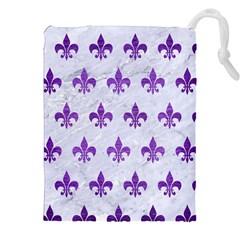 Royal1 White Marble & Purple Brushed Metal Drawstring Pouches (xxl)
