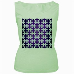 Puzzle1 White Marble & Purple Brushed Metal Women s Green Tank Top