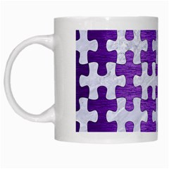 Puzzle1 White Marble & Purple Brushed Metal White Mugs