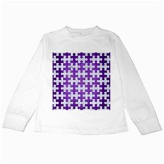 Puzzle1 White Marble & Purple Brushed Metal Kids Long Sleeve T Shirts