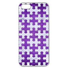 Puzzle1 White Marble & Purple Brushed Metal Apple Seamless Iphone 5 Case (clear)