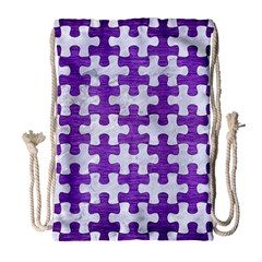 Puzzle1 White Marble & Purple Brushed Metal Drawstring Bag (large) by trendistuff