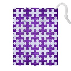 Puzzle1 White Marble & Purple Brushed Metal Drawstring Pouches (xxl)