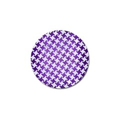 Houndstooth2 White Marble & Purple Brushed Metal Golf Ball Marker (10 Pack) by trendistuff