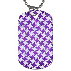Houndstooth2 White Marble & Purple Brushed Metal Dog Tag (two Sides)