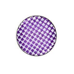 Houndstooth2 White Marble & Purple Brushed Metal Hat Clip Ball Marker (4 Pack)
