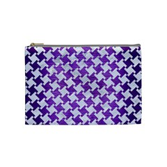 Houndstooth2 White Marble & Purple Brushed Metal Cosmetic Bag (medium)