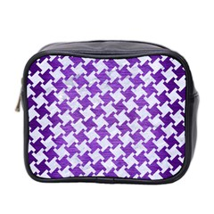 Houndstooth2 White Marble & Purple Brushed Metal Mini Toiletries Bag 2 Side