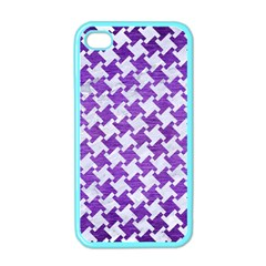Houndstooth2 White Marble & Purple Brushed Metal Apple Iphone 4 Case (color)