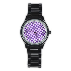 Houndstooth2 White Marble & Purple Brushed Metal Stainless Steel Round Watch