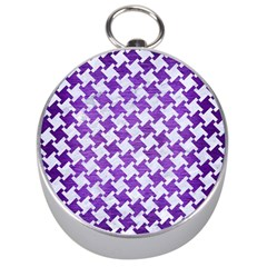 Houndstooth2 White Marble & Purple Brushed Metal Silver Compasses