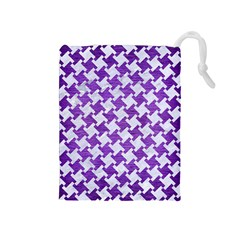 Houndstooth2 White Marble & Purple Brushed Metal Drawstring Pouches (medium)