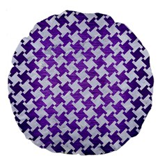 Houndstooth2 White Marble & Purple Brushed Metal Large 18  Premium Flano Round Cushions