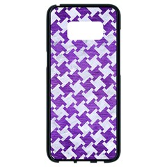 Houndstooth2 White Marble & Purple Brushed Metal Samsung Galaxy S8 Black Seamless Case