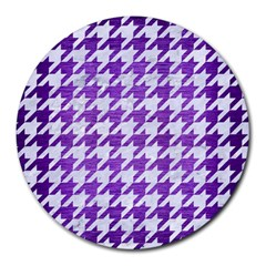 Houndstooth1 White Marble & Purple Brushed Metal Round Mousepads