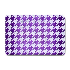 Houndstooth1 White Marble & Purple Brushed Metal Small Doormat