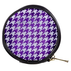 Houndstooth1 White Marble & Purple Brushed Metal Mini Makeup Bags