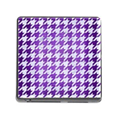 Houndstooth1 White Marble & Purple Brushed Metal Memory Card Reader (square)