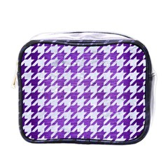 Houndstooth1 White Marble & Purple Brushed Metal Mini Toiletries Bags by trendistuff