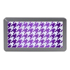 Houndstooth1 White Marble & Purple Brushed Metal Memory Card Reader (mini)