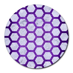 Hexagon2 White Marble & Purple Brushed Metal (r) Round Mousepads