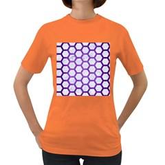 Hexagon2 White Marble & Purple Brushed Metal (r) Women s Dark T Shirt