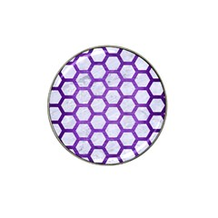 Hexagon2 White Marble & Purple Brushed Metal (r) Hat Clip Ball Marker (10 Pack)