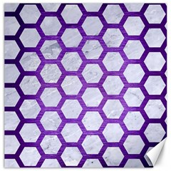 Hexagon2 White Marble & Purple Brushed Metal (r) Canvas 20  X 20