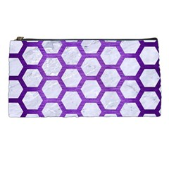 Hexagon2 White Marble & Purple Brushed Metal (r) Pencil Cases by trendistuff
