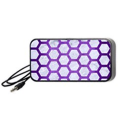 Hexagon2 White Marble & Purple Brushed Metal (r) Portable Speaker