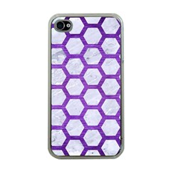 Hexagon2 White Marble & Purple Brushed Metal (r) Apple Iphone 4 Case (clear)